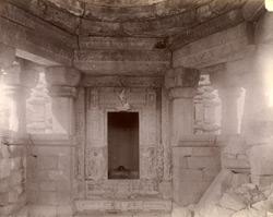 Interior view looking towards linga shrine of the Shiva temple, Gehraho, Jhansi District